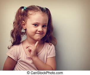pensando, vindima, face., closeup, dedo, pequeno, retrato, menina, criança, esperto