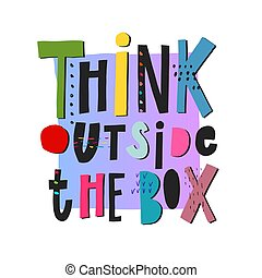 pensar, caja, cita, exterior, lettering.