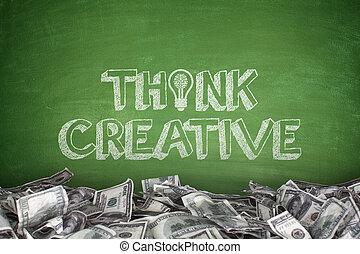 pensar, creativo, en, pizarra