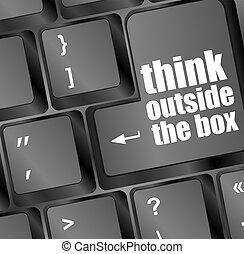 pensar, exterior, caixa, palavras, mensagem, ligado, tecla...