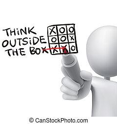 pensar, exterior, homem, caixa, palavras, 3d, escrito