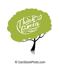 pensar, green., árbol, concepto, para, su, diseño