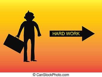 pensar, hombre de negocios, carácter, vec, trabajo duro, arrow., silueta