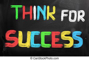 pensar, para, sucesso, conceito
