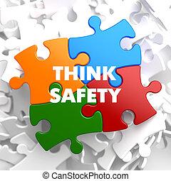 pensar, seguridad, en, multicolor, puzzle.