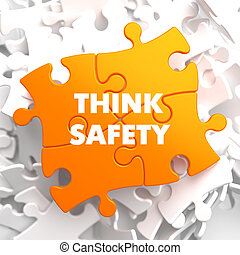 pensar, seguridad, en, naranja, puzzle.