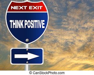 pensar, sinal, positivo, estrada
