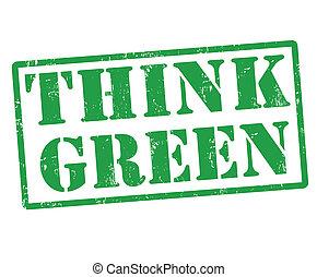pensar, verde, estampilla