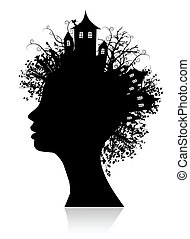 pensare, ambiente, silhouette