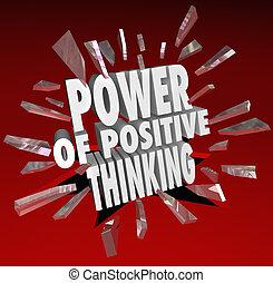 pensare, atteggiamento, potere, positivo, detto, parole, 3d