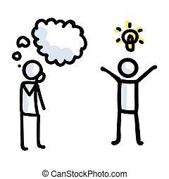 pensare, bastone, vector., concetto, disegnato, mano, discorso, figura, ispirazione, pensiero, informazioni, idea., illustration., icona, lightbulb, semplice, bujo, motivo, brainstorming, communication., expression., bolla