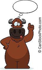 pensare, bufalo, cartone animato