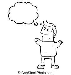 pensare, cartone animato, uomo