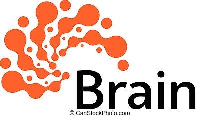 pensare, cervello, disegno, icon., astratto, potere, silhouette, vettore, tempesta, isolato, simbolo., digitale, idea, logotipo, pensare, creativo, template., concept., logotype, insolito, brainstorming