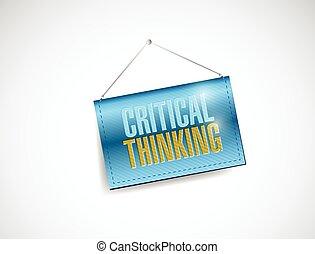 pensare, critico, bandiera, appendere