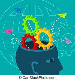 pensare, critico, brainstorm