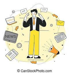 pensare, critico, filtro, grafico, vettore, design., notizie, appartamento, infographic.