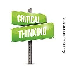 pensare, critico, strada, illustrazione, segno