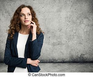 pensare, dall'aspetto, donna, su, affari