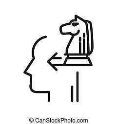 pensare, disegno, illustrazione, strategico