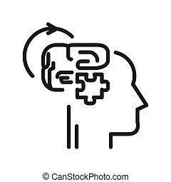 pensare, disegno, logico, illustrazione