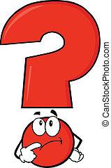 pensare, domanda, rosso, marchio