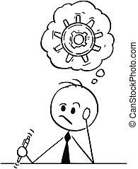 pensare, duro, soluzione, trovare, uomo affari, cartone animato