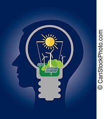 pensare, ecologico, verde, energy.