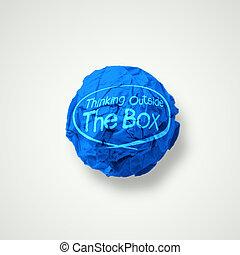pensare, esterno, scatola