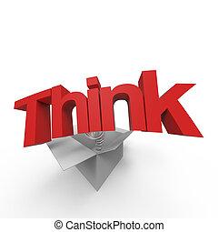 pensare, esterno, scatola, io