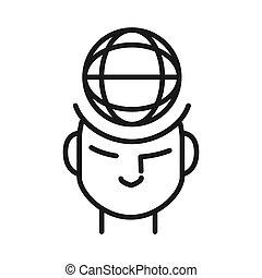 pensare, globale, disegno, illustrazione