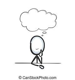 pensare, grafico, illustrazione, sognare, cartoon., pensiero, schizzo, vettore, mano, stickman, imagening., memories., cloud., scarabocchiare, bolla, drawn., buono