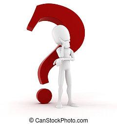 pensare, grande, domanda, behidf, marchio, qualcosa, uomo, lui, rosso, 3d
