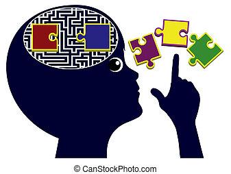 pensare, insegnamento, bambini, abilità
