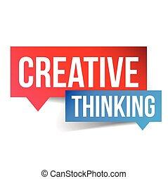 pensare, iscrizione, bolla discorso, creativo