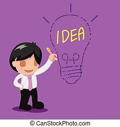 pensare, lampada, uomo, idea, disegno