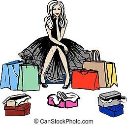 pensare, negozio, donna