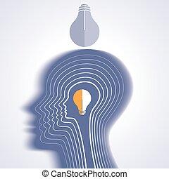 pensare, nuovo, testa, idea, umano
