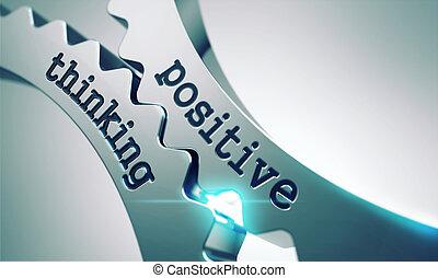 pensare, positivo, concetto, gears.
