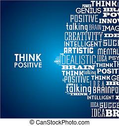 pensare, positivo, disegno