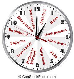 pensare, positivo, motivazionale, messaggi, orologio