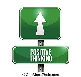 pensare, positivo, strada, illustrazione, segno