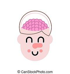 pensare, process., illustrazione, cervello, vettore, head.