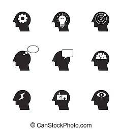 pensare, processo, umano, icone
