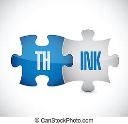 pensare, puzzle, illustrazione, disegno