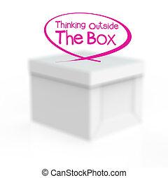 pensare, scatola, esterno