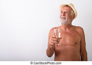 pensare, shirtless, vetro acqua, mentre, presa a terra, uomo senior
