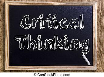 pensare, testo, delineato, -, critico, lavagna, nuovo, 3d