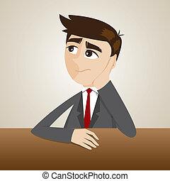 pensare, uomo affari, cartone animato