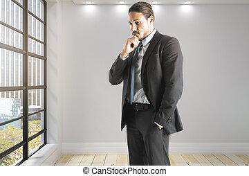 pensare, uomo affari, ufficio